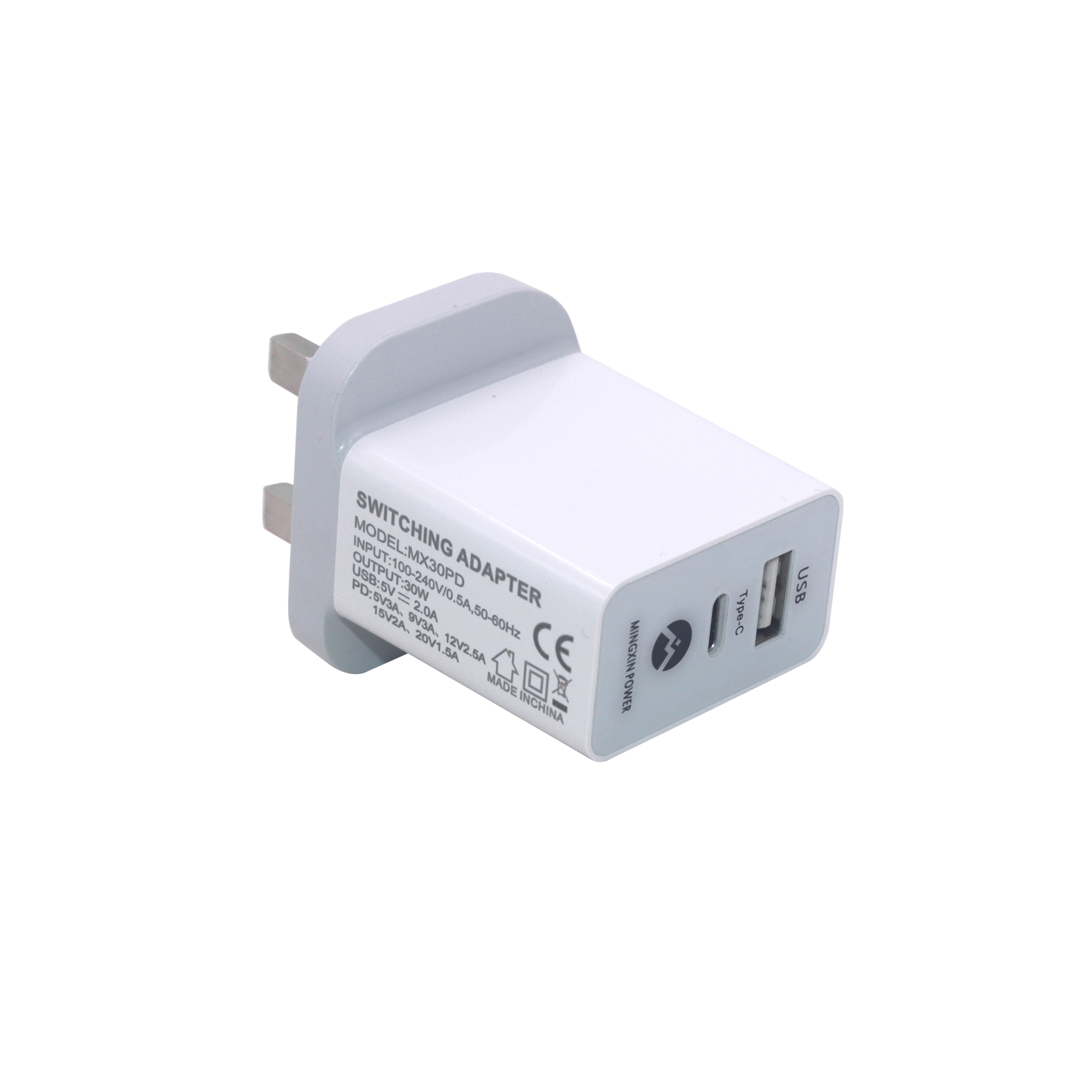 30w type-c PD charger with UK plug